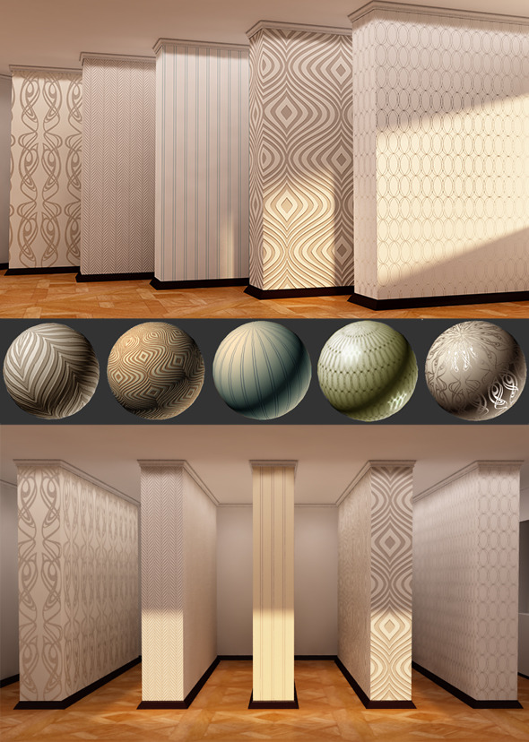 5 Popular Interior Wallpapers - Vray Mats - 3DOcean Item for Sale