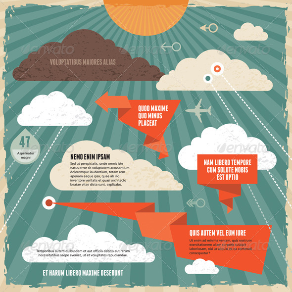 Clouds Vintage Background Concept - Conceptual Vectors
