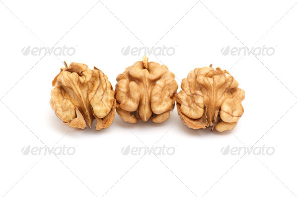 Kernels of walnuts on a white. - Stock Photo - Images