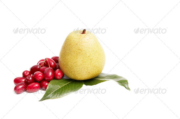 Ripe,fresh autumn fruits on a white. - Stock Photo - Images