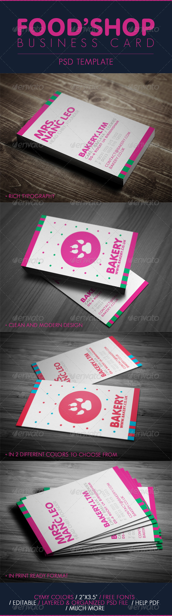 Business Card - For Food Shop - Industry Specific Business Cards