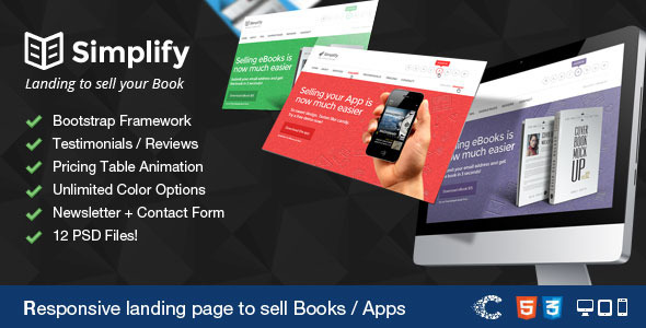 Simplify - Sell your Book / App Landing - Marketing Corporate