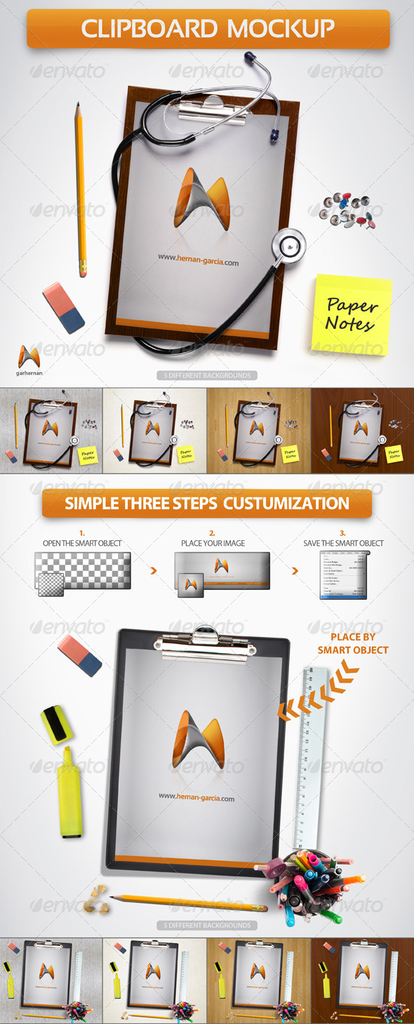 Clipboard Board Mock-Up - Product Mock-Ups Graphics