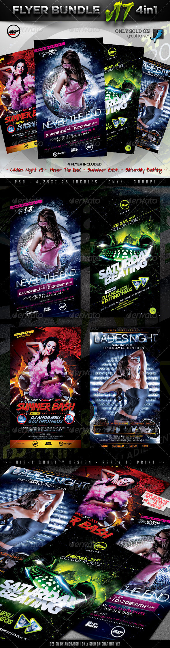 Flyer Bundle Vol17 - 4 in 1 - Clubs & Parties Events
