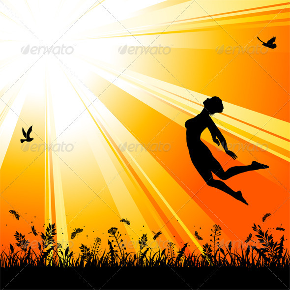 Nature background with silhouette jumping girl - People Characters