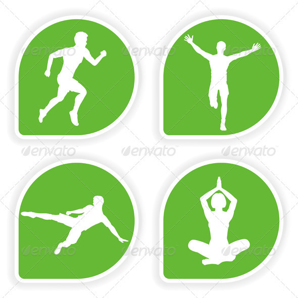 Collect Sticker with Sport Silhouettes - Sports/Activity Conceptual