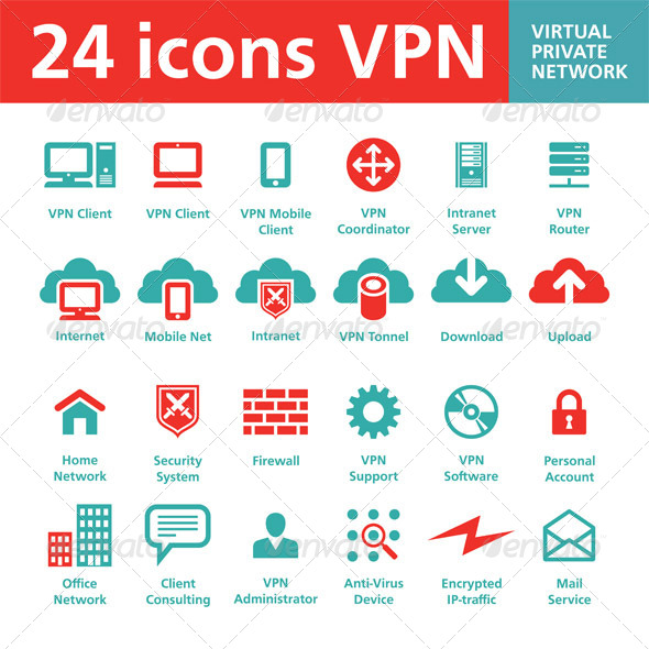 24 icons VPN (Virtual Private Network) - Web Icons