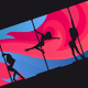 Silhouettes of Pole Dancers on Abstract Background - GraphicRiver Item for Sale