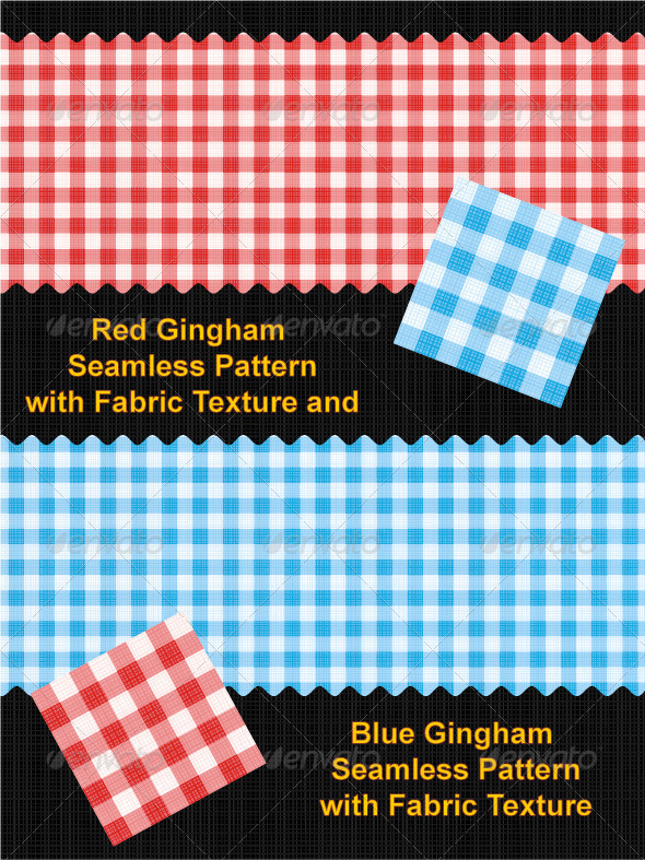 Red and Blue Gingham Seamless Patterns - Patterns Decorative
