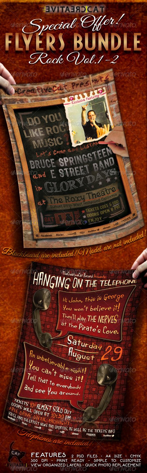 Rock Flyer/Poster Bundle Vol.1-2 - Events Flyers