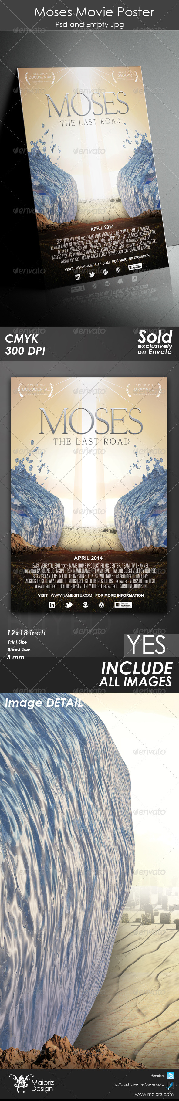 Moses Poster Template - Church Flyers
