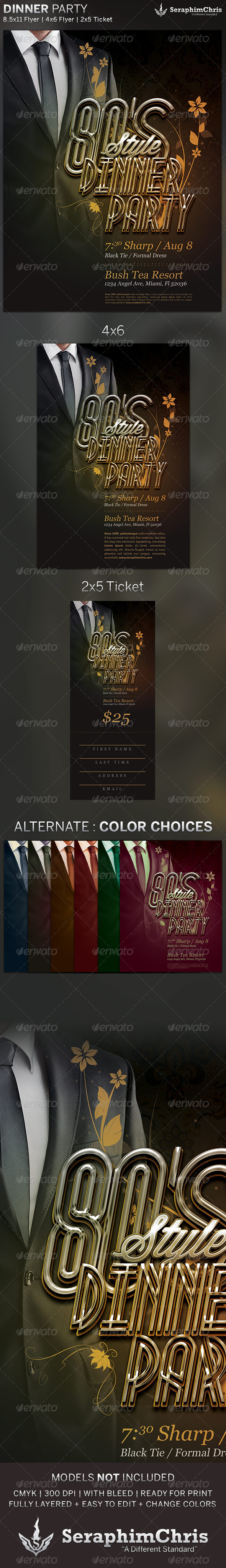 80's Dinner Party: Flyer and Ticket Template