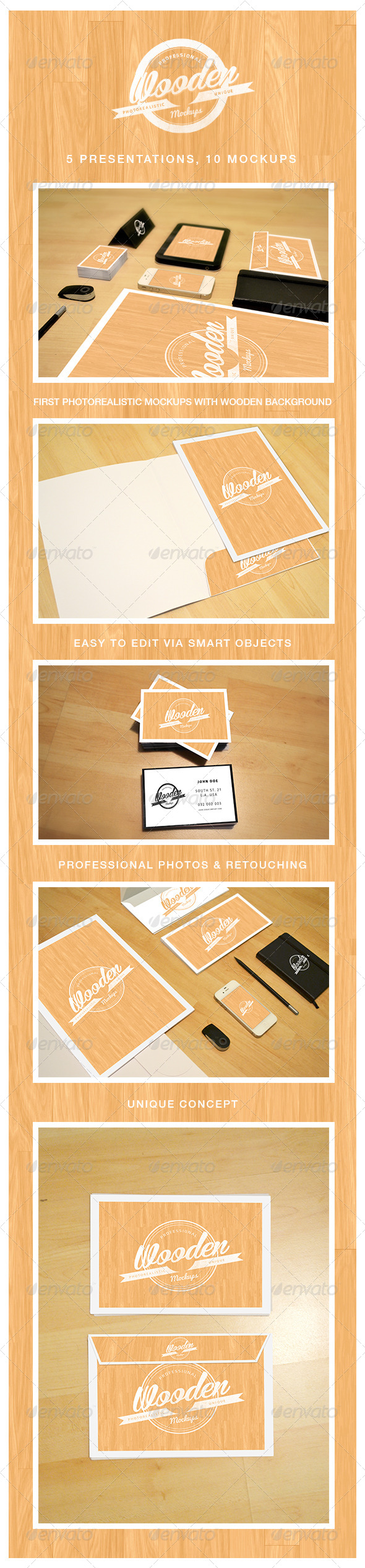 Photorealistic Wooden Mockups - Vol. 1 - Stationery Print