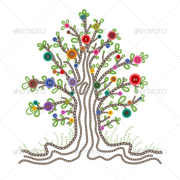 Tree With Fruits Part - 29: Colorful Embroidered Tree With Buttons Fruits - Flowers U0026 Plants Nature