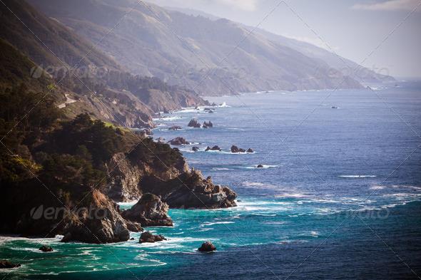 Big Sur View Along The Pacific Coastline - Stock Photo - Images