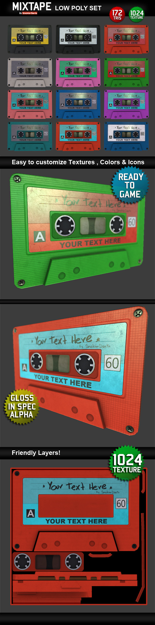 Mixtape Low Poly Model - 3DOcean Item for Sale