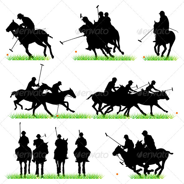 Polo Players Silhouettes Set - Sports/Activity Conceptual
