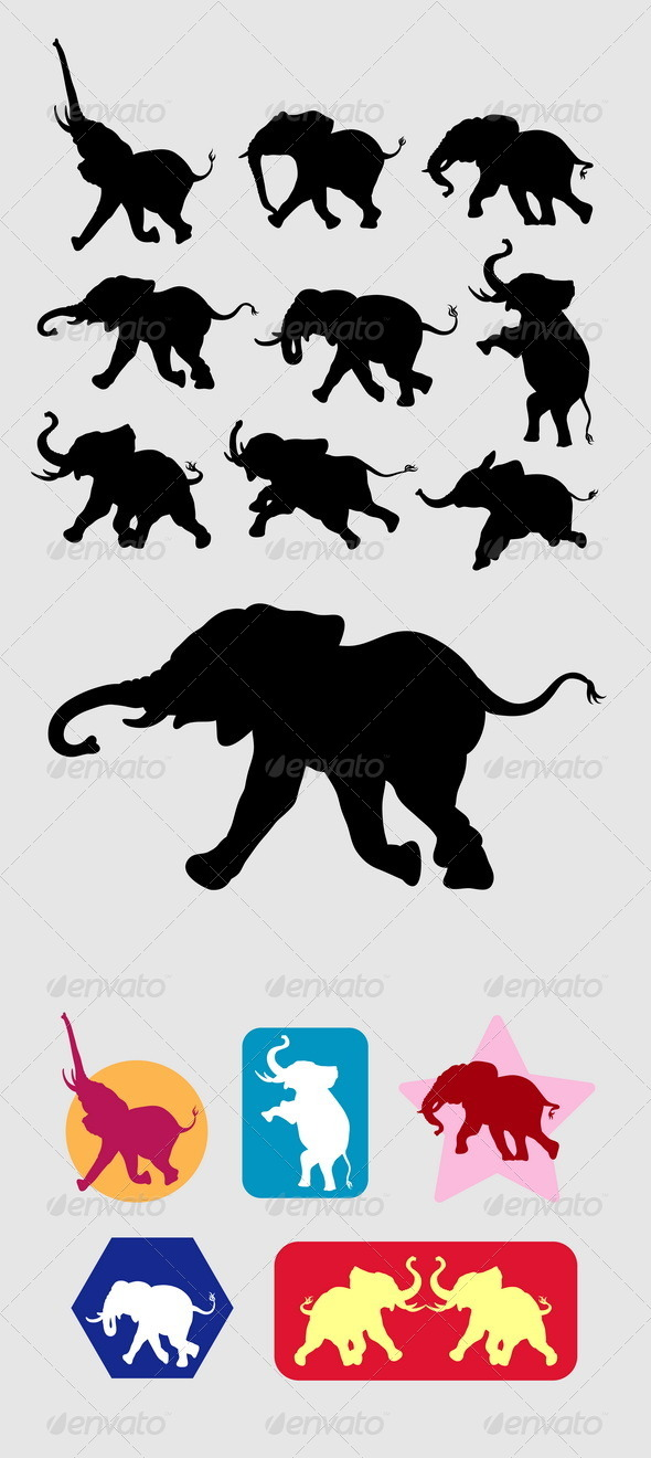 Elephant Running Silhouettes - Animals Characters