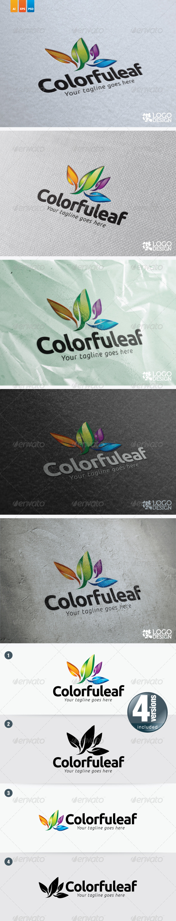 Colourful Leaf - Nature Logo Templates