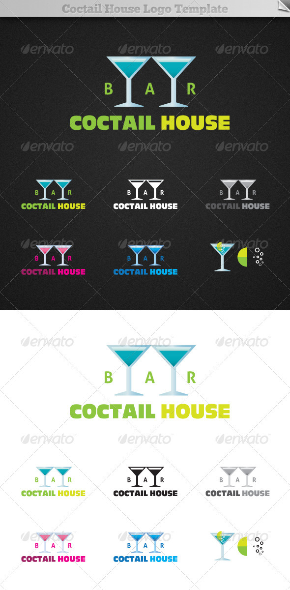 Coctail House Bar Logo Template - Objects Logo Templates