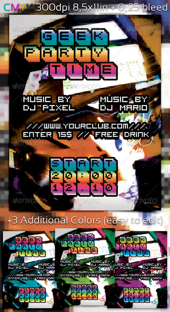 Geek Party Time Flyer - Clubs & Parties Events
