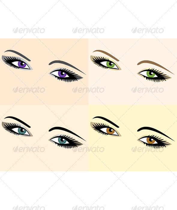 Vector set of eye images of different colors - People Characters