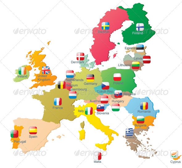 The European Union Map with Flags by mart_m | GraphicRiver