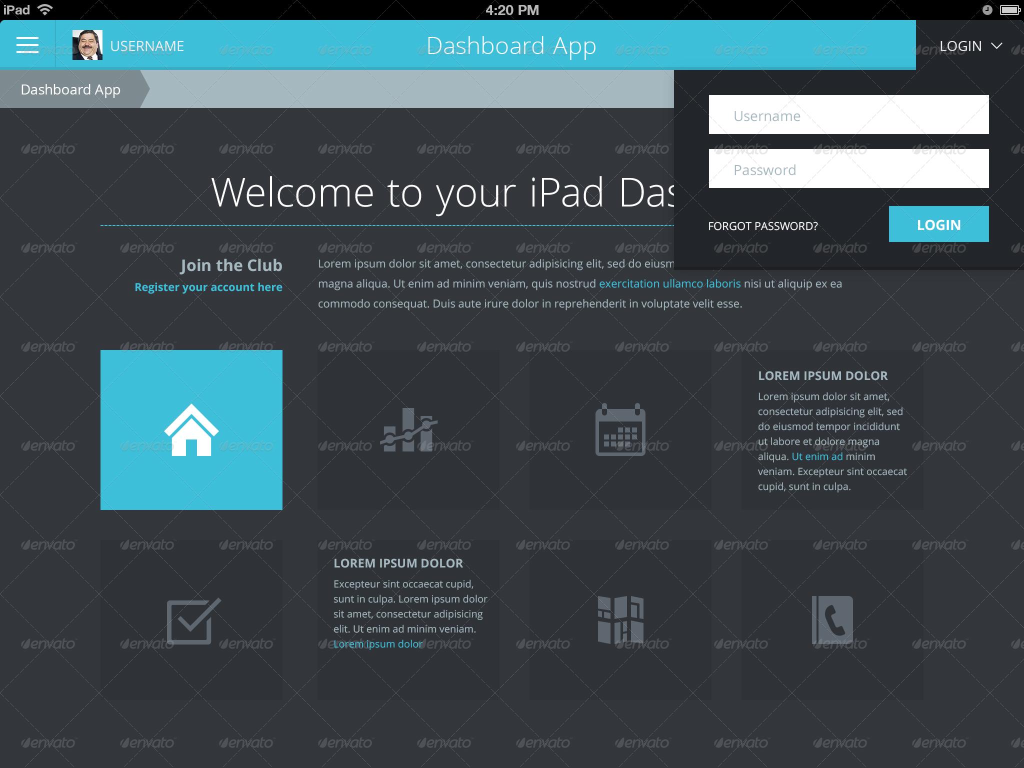 Flat Ipad Ios Tablet App Amp Dashboard By Joelferrell