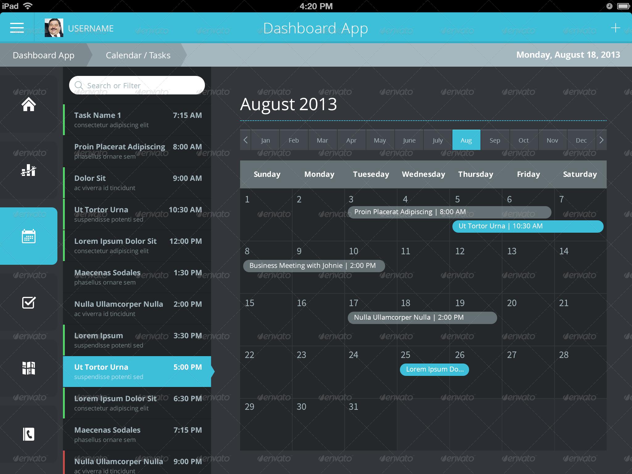 Flat iPad - iOS - Tablet App & Dashboard by joelferrell | GraphicRiver