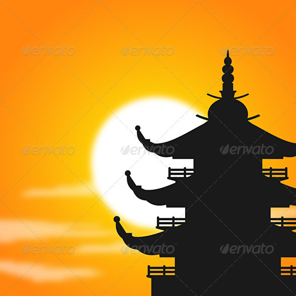 Pagoda Silhouette at Dusk - Travel Conceptual