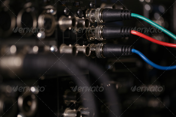 RGB video cables in the pro recorder. - Stock Photo - Images