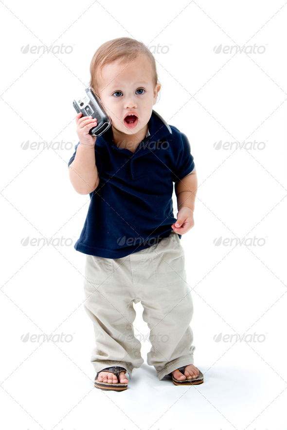 Baby with phone - Stock Photo - Images