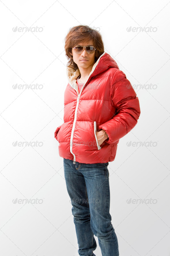 Cool Asian guy in red coat - Stock Photo - Images