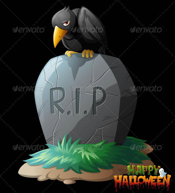 Raven on Grave Halloween Vector Clip Art