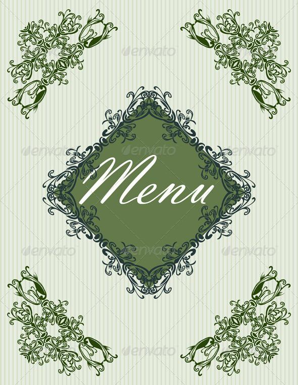 Vintage Menu Cover Design - Flourishes / Swirls Decorative