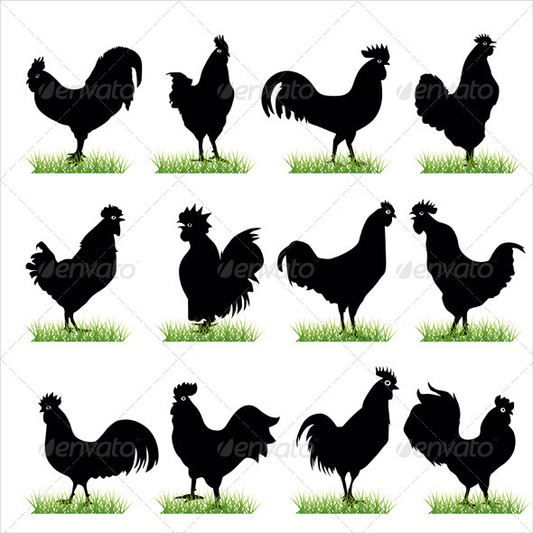 Roosters Silhouettes Set - Animals Characters