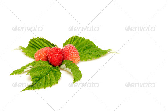 Splendid and tasty raspberries on a white background. - Stock Photo - Images