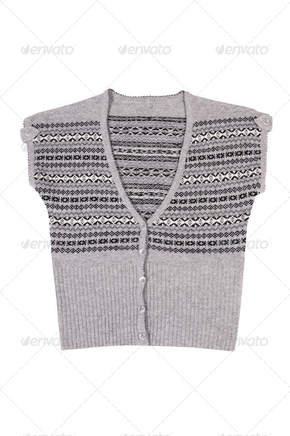 Modern warm waistcoat on a white. - Stock Photo - Images
