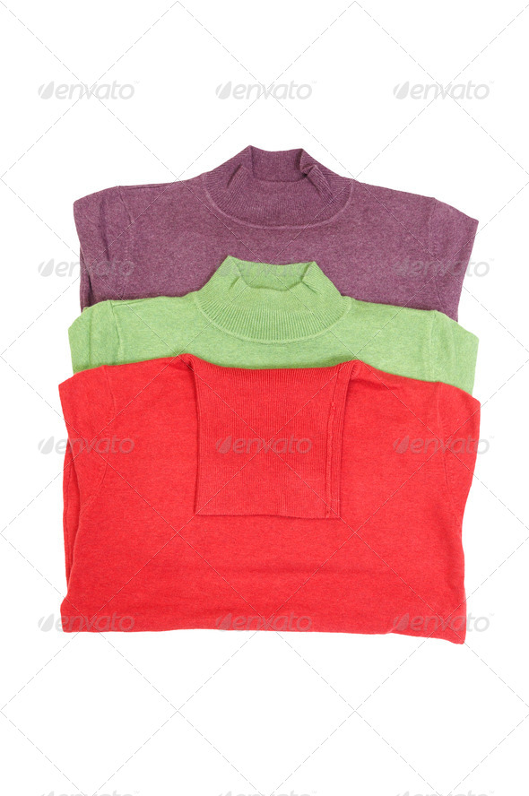Stylish sweaters on a white. - Stock Photo - Images