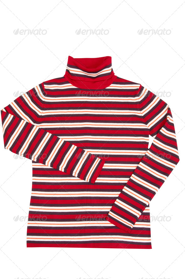 Modern striped sweater on a white. - Stock Photo - Images