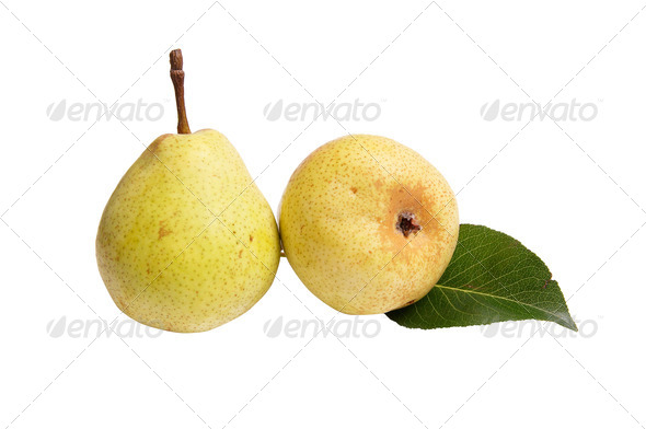 Juicy,ripe  pears on a white. - Stock Photo - Images