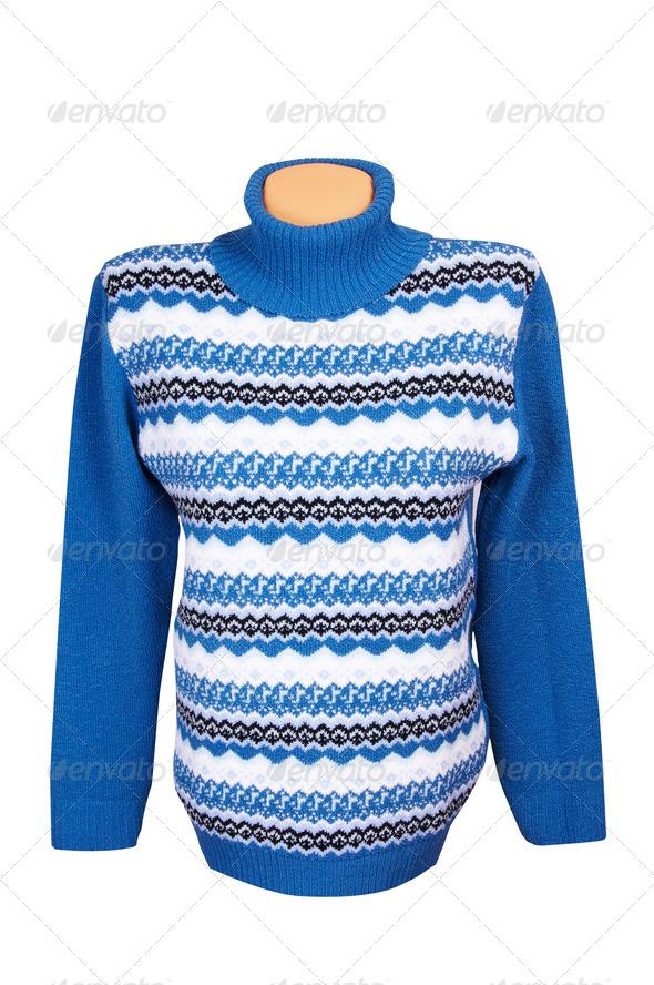 Warm stylish sweater on a white. - Stock Photo - Images