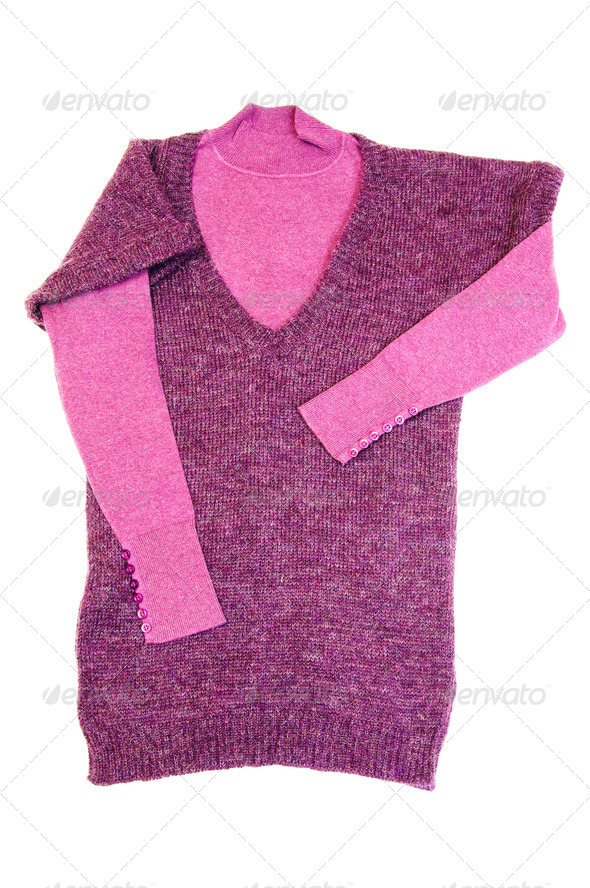 Fashionable lilac sweaters on a white. - Stock Photo - Images