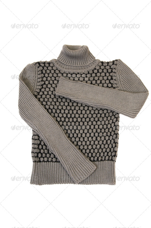 Stylish,modern grey sweater on a white. - Stock Photo - Images