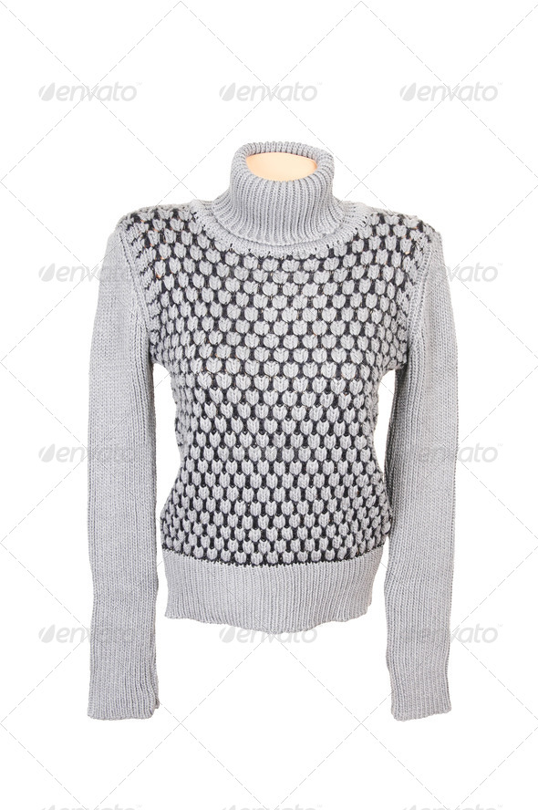 Grey stylish sweater on a white. - Stock Photo - Images