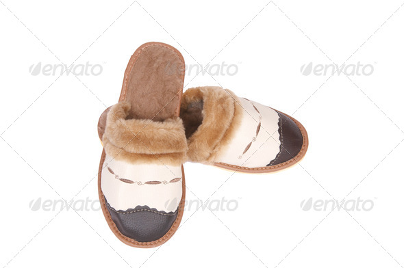 Stylish leather neat slippers on a white. - Stock Photo - Images