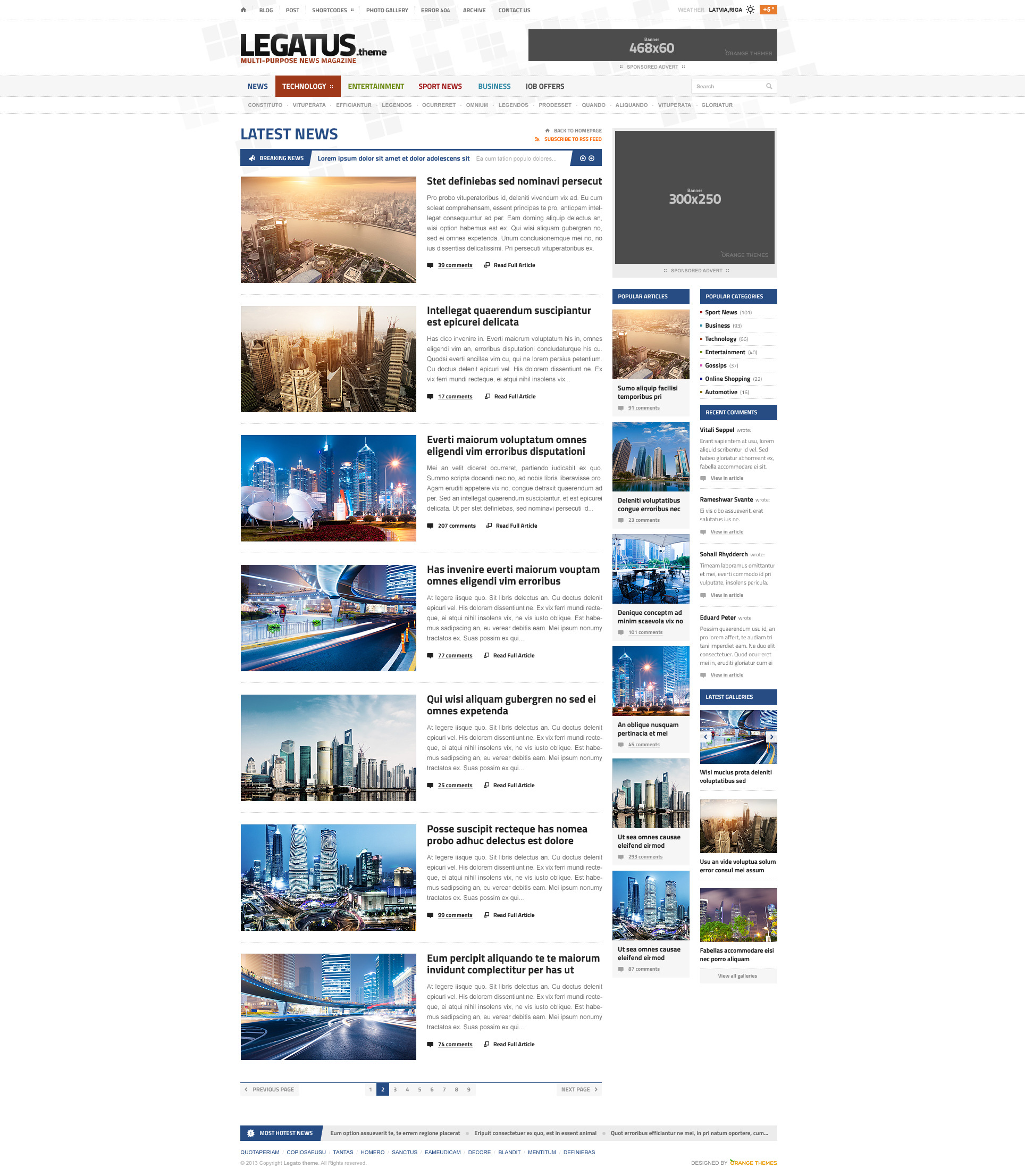legatus responsive news magazine html template by orange themes