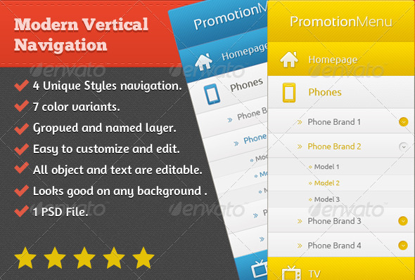 Modern Vertical Navigation - Navigation Bars Web Elements
