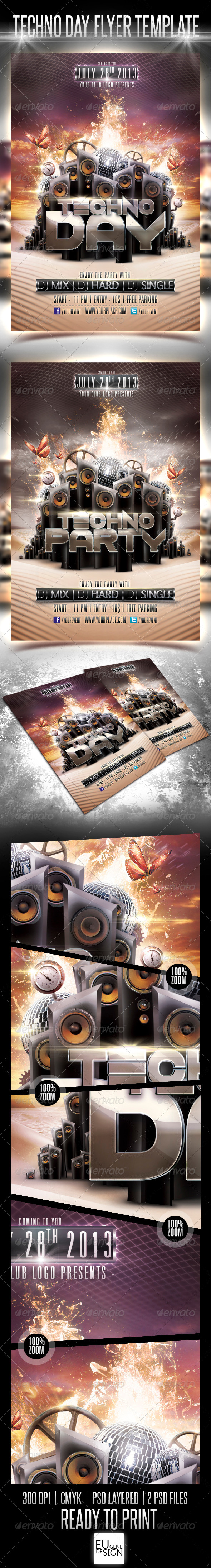 Techno Day Flyer Template - Clubs & Parties Events