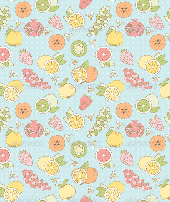 Seamless Pattern with Fruits and Berries - Patterns Decorative